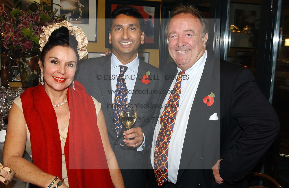 Left to right, VIVIENNE VENTURA mother of Mrs Zac Goldsmith, PRINCE MANGAL KAPOOR and SIR DAI LLEWELLYN at a pre-screening party of a film by Fiona Sanderson entitled 'The Hunt For Lord Lucan' held at Langans, 254 Old Brompton Road, London SW7 on 8th November 2004.<br /><br />NON EXCLUSIVE - WORLD RIGHTS