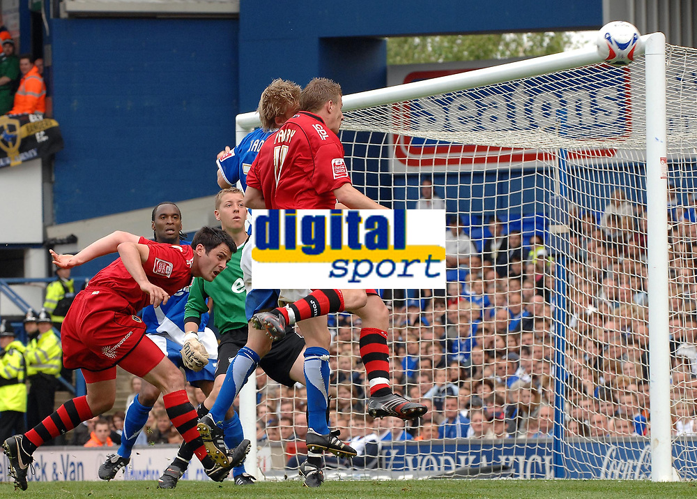 Photo: Ashley Pickering.<br /> Ipswich Town v Cardiff City. Coca Cola Championship. 06/05/2007.<br /> Paul Parry of Cardiff (R) heads just wide of the post