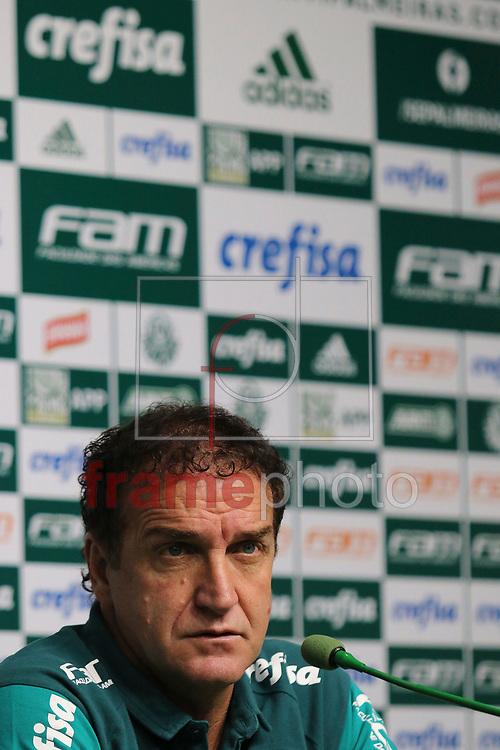 Técnico Cuca concede entrevista coletiva na Academia de Futebol do Palmeiras em São Paulo nesta quarta-feira (13/04), antes do treino fechado que será realizado no Allianz Parque. A equipe do Palmeiras entrenta o River Plate (URU) pela Libertadores da América 2016 na quinta-feira (14). Foto: Marcello Fim / FramePhoto