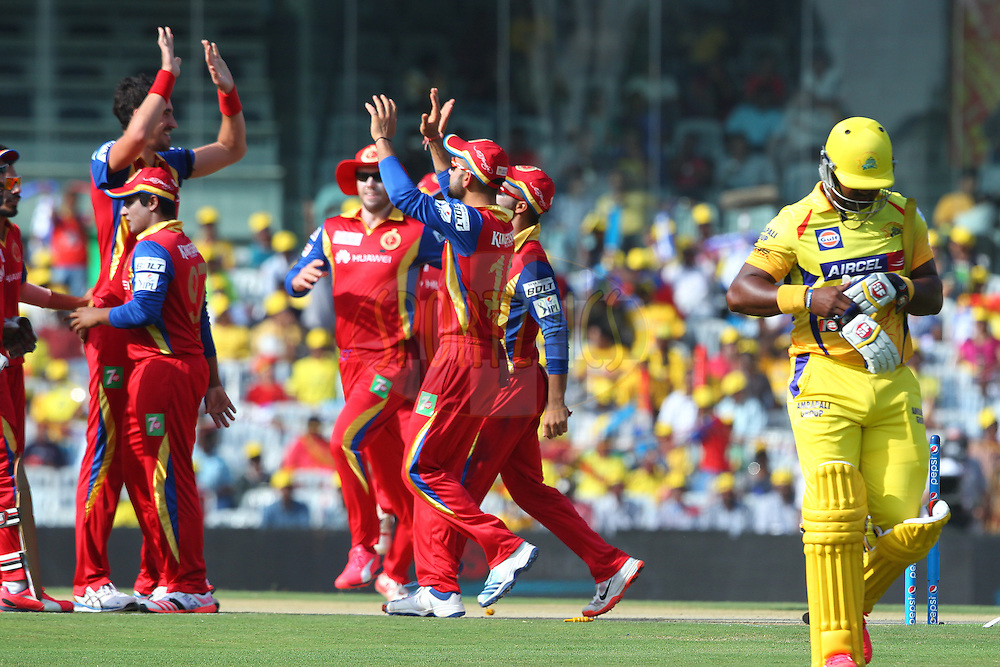 Dwayne Smith of the Chennai Superkings departs during match 37 of the Pepsi IPL 2015 (Indian Premier League) between The Chennai Superkings and The Royal Challengers Bangalore held at the M. A. Chidambaram Stadium, Chennai Stadium in Chennai, India on the 4th May April 2015.<br /> <br /> Photo by:  Ron Gaunt / SPORTZPICS / IPL
