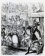 Fairground giant and dwarf forced out of their boothe by stench of sulpheretted hydrogen (hydrogen sulphide). Illustration of 1834 by George Cruikshank .