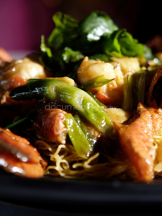 The Pearl Liang (Chinese Restaurant).8 Sheldon Square, Paddington Central, London...Lobster with ginger and spring onions on noodle bed..