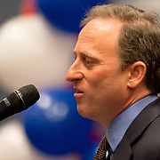Philadelphia 76ers managing owner Josh Harris addresses the media during a news conference to announce the creation of NBA D-League franchise the Delaware 87ers Saturday. April 27, 2013,  at The Bob Carpenter Center in Newark, Del..(AP Photo/Saquan Stimpson).
