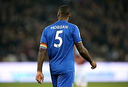 Leicester City's Wes Morgan wears a rainbow coloured armband