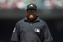 SAN FRANCISCO, CA - MAY 02:  MLB umpire Adrian Johnson #80 walks across the field to review a play during the fifth inning between the San Francisco Giants and the Los Angeles Angels of Anaheim at AT&T Park on May 2, 2015 in San Francisco, California.  The San Francisco Giants defeated the Los Angeles Angels of Anaheim 5-4. (Photo by Jason O. Watson/Getty Images) *** Local Caption *** Adrian Johnson