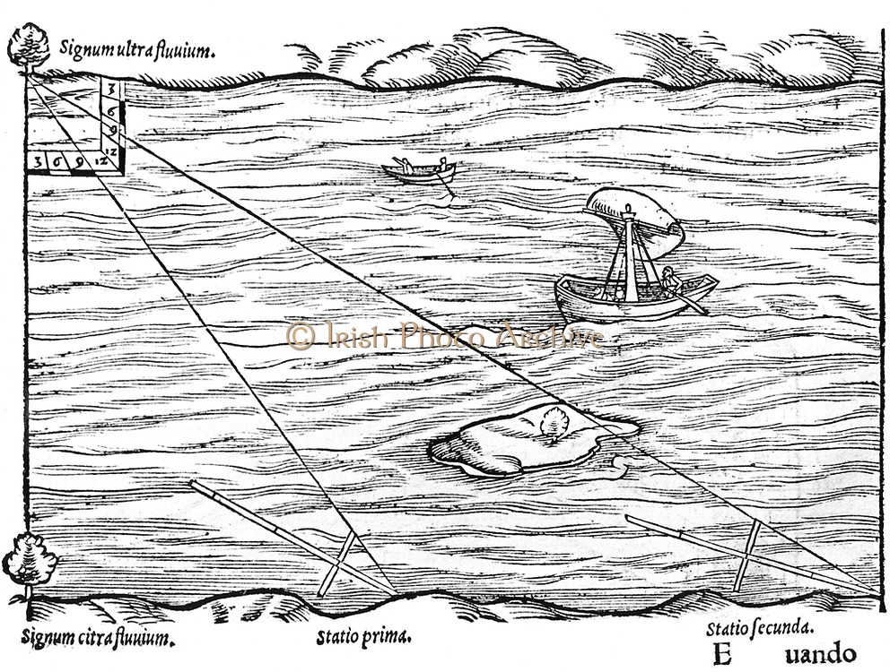 Cross-staffs used for surveying: in this case for measuring the width of a river by triangulation. From Sebastian Munster 'Rudimenta Mathematica', Basle, 1551.  Woodcut