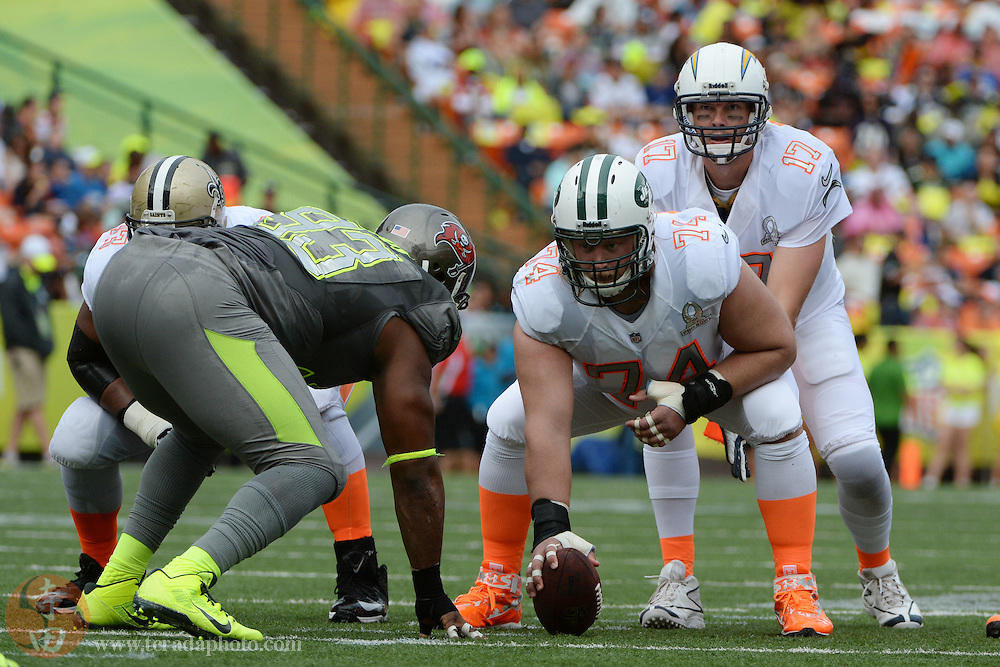 January 26, 2014; Honolulu, HI, USA; Team Rice center Nick Mangold of the New York Jets (74) prepares to snap the football to quarterback Philip Rivers of the San Diego Chargers (17) against Team Sanders defensive tackle Gerald McCoy of the Tampa Bay Buccaneers (93) during the second quarter of the 2014 Pro Bowl at Aloha Stadium.
