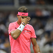 2017 U.S. Open Tennis Tournament - DAY TWO. Rafael Nadal of Spain in action against Dusan Lajovic of Serbia during the Men's Singles round one match at the US Open Tennis Tournament at the USTA Billie Jean King National Tennis Center on August 29, 2017 in Flushing, Queens, New York City.  (Photo by Tim Clayton/Corbis via Getty Images)