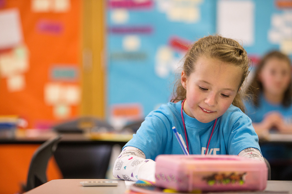 GABE GREEN/Press<br /> <br /> Second-grader Kiley Irons works on a math problem Tuesday during Shana Hostetler&rsquo;s class at Betty Kiefer Elementary in Rathdrum. Betty Kiefer is one of the schools that will benefit from an upcoming Lakeland school levy if the levy is approved.