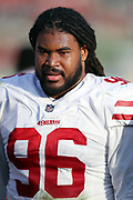 San Francisco 49ers defensive tackle Sheldon Day (96) looks on from the sideline during the 2017 NFL week 17 regular season football game against the Los Angeles Rams, Sunday, Dec. 31, 2017 in Los Angeles. The 49ers won the game 34-13. (©Paul Anthony Spinelli)