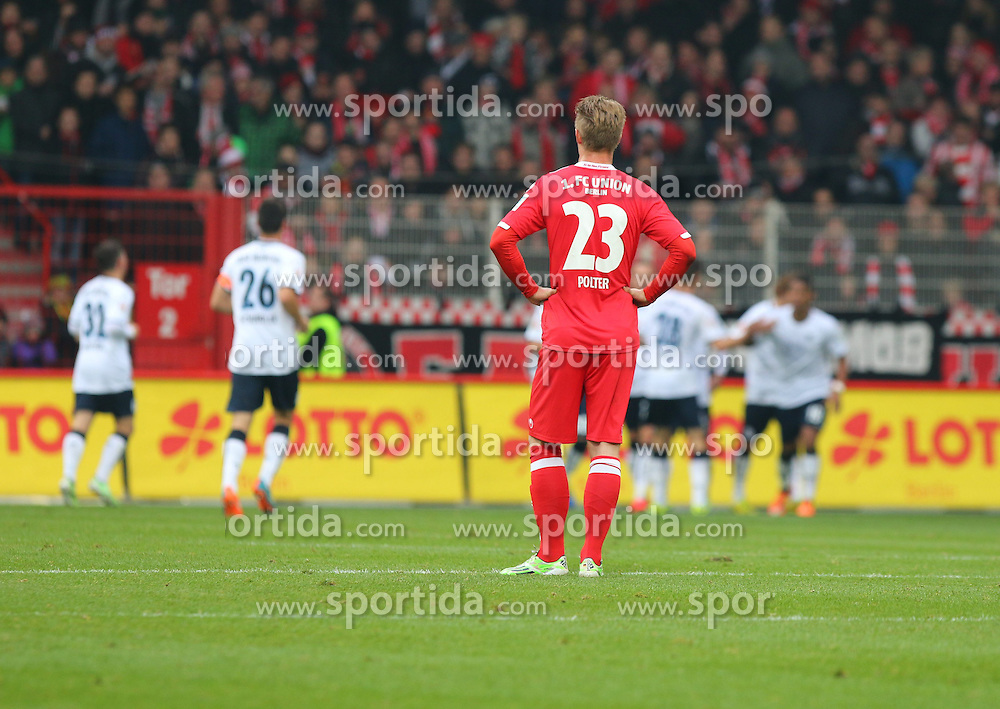 22.11.2014, Alte F&ouml;rsterei, Berlin, GER, 2. FBL, 1. FC Union Berlin vs TSV 1860 Muenchen, 14. Runde, im Bild Sebastian Polter (1. FC Union Berlin) ist nach dem 0:2 konsterniert // SPO during the 2nd German Bundesliga 14th round match between 1. FC Union Berlin and TSV 1860 Muenchen at the Alte F&ouml;rsterei in Berlin, Germany on 2014/11/22. EXPA Pictures &copy; 2014, PhotoCredit: EXPA/ Eibner-Pressefoto/ Hundt<br /> <br /> *****ATTENTION - OUT of GER*****