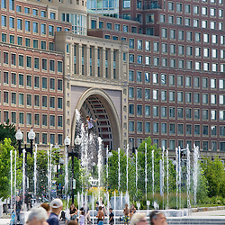 Photo illustration of fountain at Rose Kennedy Greenway, Rowes Wharf Hotel in background-Boston, MA.