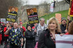 © Licensed to London News Pictures . 08/03/2014 . York , UK . A TUC protest march against the Liberal Democrat and Conservative coalition government passes by the Barbican Centre in York . The second day of the Liberal Democrat Spring Conference today (Saturday 8th March 2014) . Photo credit : Joel Goodman/LNP