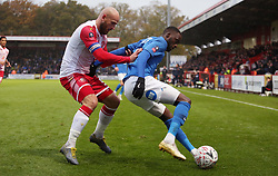 Mohamed Eisa of Peterborough United in action with Scott Cuthbert of Stevenage - Mandatory by-line: Joe Dent/JMP - 09/11/2019 - FOOTBALL - Lamex Stadium - Stevenage, England - Stevenage v Peterborough United - Emirates FA Cup first round