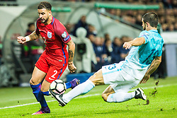 Kyle Walker of England and Bojan Jokic of Slovenia during football match between National teams of Slovenia and England in Round #3 of FIFA World Cup Russia 2018 qualifications in Group F, on October 11, 2016 in SRC Stozice, Ljubljana, Slovenia. Photo by Grega Valancic / Sportida