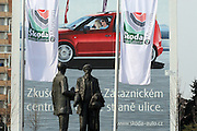 Mlada Boleslav/Tschechische Republik, Tschechien, CZE, 19.03.07: Die Skulpturen von den Skoda Gründern Vaclav Klement und Vaclav Laurin vor dem Skoda Automuseum in Mlada Boleslav. Im Hintergrund Werbung für den neuen Skoda Roomster.<br /> <br /> Mlada Boleslav/Czech Republic, CZE, 19.03.07: Sculptures of Skoda company founders Vaclav Klement and Vaclav Laurin promoting Skoda Auto Museum in front of Skoda Auto advertising poster in Mlada Boleslav. Czech car producer Skoda Auto is a subsidiary of the German Volkswagen Group (VAG).
