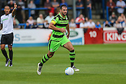 Forest Green Rovers Aarran Racine (21) runs with the ball during the Vanarama National League match between Dover Athletic and Forest Green Rovers at Crabble Athletic Ground, Dover, United Kingdom on 10 September 2016. Photo by Shane Healey.