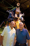 L-R, JOE MULE, 80, of Lakewood, NJ, the National Marconi Science Award 2010 recipient (UNICO), and former NASA Apollo astronaut FRED HAISE are at a Summer of '69 Celebration Event held at the Long Island Cradle of Aviation Museum, on the 45th Anniversary of NASA Apollo 11 LEM landing on the moon July 20, 1969. Mule was an engineer and reliability manager for the LEM Lunar Excursion Module. Haise, the lunar module pilot for Apollo 13 mission, was in the LEM Room during the reunion of former Northrop Grumman Aerospace Corporation employees. Behind them is Lunar Module LM-13 intended for Apollo 18 mission to Copernicus Crater in 1973, which was canceled.