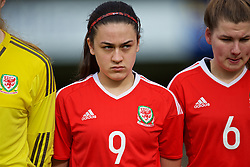 MERTHYR, WALES - Thursday, February 16, 2017: Wales' Meesha Dudley-Jones lines-up for the anthems ahead of the Women's Under-17's International Friendly match against Hungary at Penydarren Park. (Pic by Laura Malkin/Propaganda)