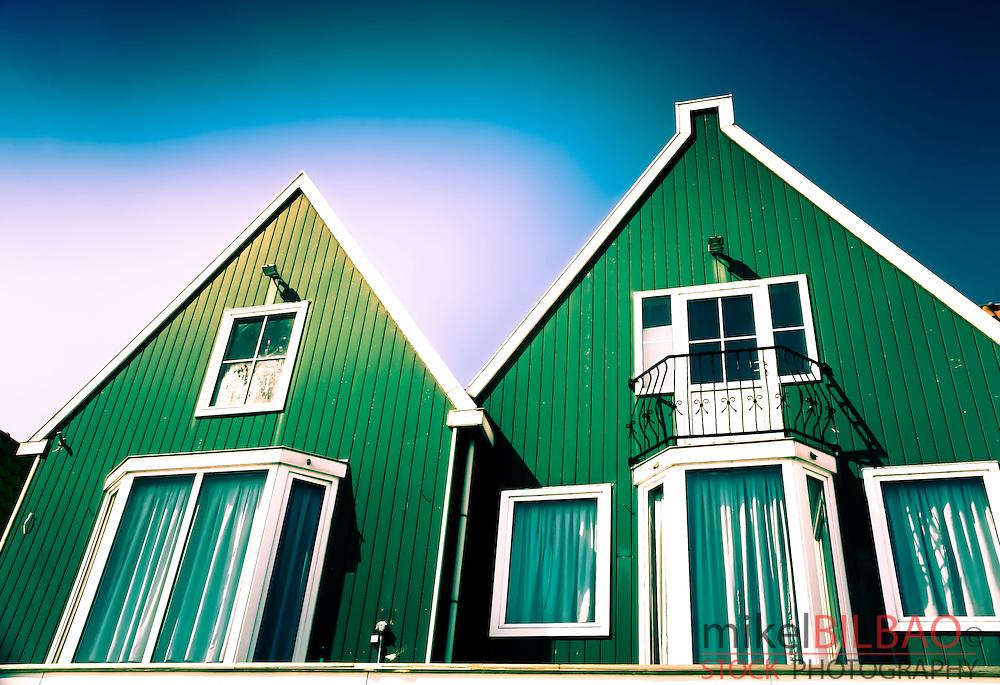 Wooden house in Volendam. Holland, Netherlands, Europe.