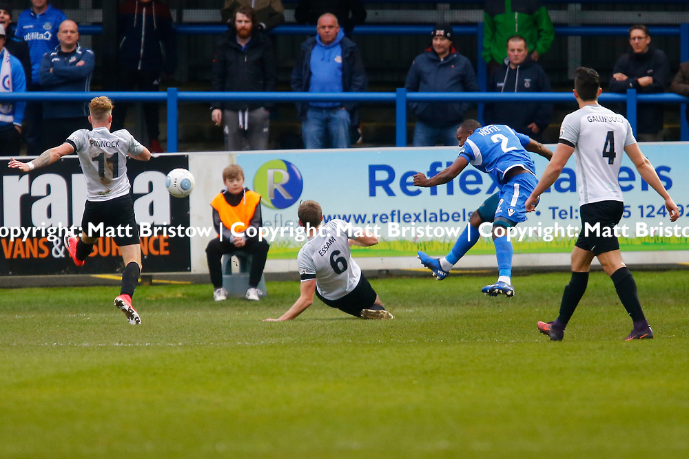 NOVEMBER 11:  Top of the table Dover Athletic host visitors Eastleigh in Conference Premier at Crabble Stadium in Dover, England. Dover ran out emphatic winners 2-0 to remain at the top of the National League. Eastleigh's defender Gavin Hoyte crosses the ball. (Photo by Matt Bristow/mattbristow.net)