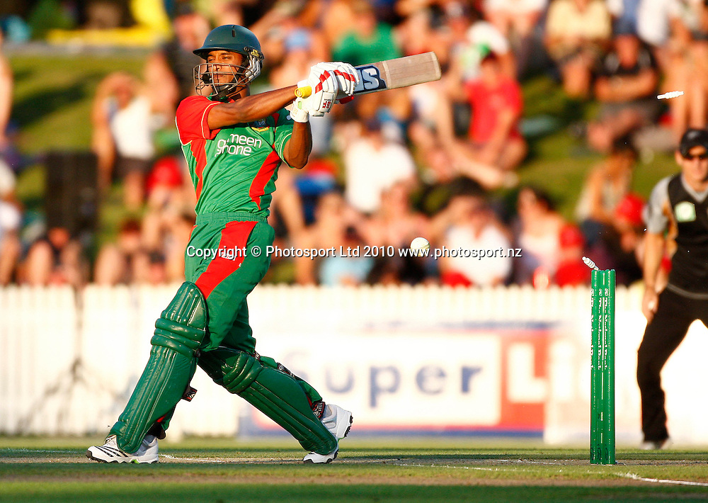 Bangladeshi batsman Naeem Islam is bowled. KFC Twenty20, New Zealand Blackcaps v Bangladesh, Seddon Park, Hamilton. Wednesday 3rd February 2010. Photo: Simon Watts/PHOTOSPORT