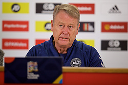 CARDIFF, WALES - Thursday, November 15, 2018: Denmark's head coach Åge Hareide during a press conference at the Cardiff City Stadium ahead of the UEFA Nations League Group Stage League B Group 4 match between Wales and Denmark. (Pic by David Rawcliffe/Propaganda)