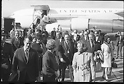 American Astronauts visit Dublin.<br /> 1970.<br /> 13.10.1970.<br /> 10.13.1970.<br /> 13th October 1970.<br /> The Astronauts of the Apollo 13 moon mission visited Ireland as part of a European tour. James Lovell, John Swigert and Fred Haise were on a planned landing on the lunar surface ,when two day after blast off on 11 April 1970 an explosion aboard the craft resulted in one of the most amazing missions in the Apollo series. The explosion placed the crew in severe danger and it was only through much skill and courage that the astronauts managed to make emergency repairs to enable them to return home. Up until they returned on 17th April the world held its breath as the astronauts fought their way back to Earth.<br /> <br /> Image shows the Apollo 13 astronauts being escorted to the terminal building by the dignitaries on the tarmac at Dublin Airport.