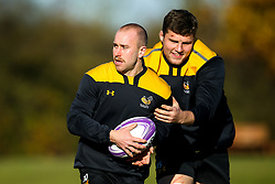 Dan Robson and Tom Willis of Wasps during training ahead of the European Challenge Cup fixture against SU Agen - Mandatory by-line: Robbie Stephenson/JMP - 18/11/2019 - RUGBY - Broadstreet Rugby Football Club - Coventry , Warwickshire - Wasps Training Session