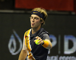 September 18, 2018 - St. Perersburg, Russia - Russian Federation. St. Petersburg. Tennis. Tennis tournament ATP. Saint-Petersburg Open. Sibur Arena. Tennis player Andrei Rublev. (Credit Image: © Russian Look via ZUMA Wire)
