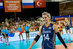 11-08-2018 NED: Rabobank Super Series Netherlands - Turkey, Eindhoven<br /> Netherlands in the final against Russia. The Dutch win the semi final in straight sets 3-0 / Laura Dijkema #14 of Netherlands