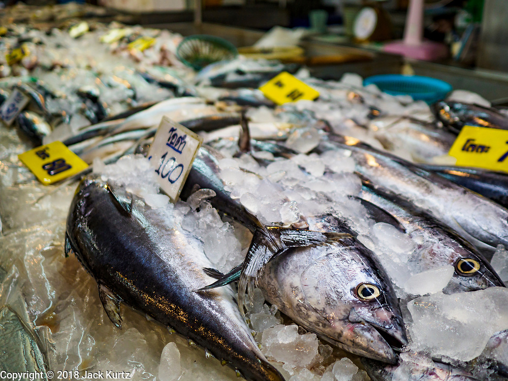 12 JULY 2018 - SAMUT PRAKAN, SAMUT PRAKAN, THAILAND: Small tune for sale in Pak Nam market in Samut Prakan. Fish consumption recently hit a record high according to a report published this week by the United Nations Food and Agriculture Organization. The FAO reported that global fish production peaked at about 171 million tonnes in 2016, 47 percent of it from fish farming. The FAO also reported that global fish consumption between 1961 and 2016 was rose nearly twice as fast as population growth. In 2015, fish accounted for about 17 percent of the animal protein consumed globally. This has ramifications for Thailand, which has one of the world's largest fish and seafood industries. About 90% of Thailand's production is exported, and accounts for about 4% of Thailand's exports.        PHOTO BY JACK KURTZ
