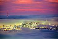 Fog at sunset over San Francisco, California