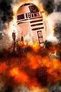 Digitally enhanced image of Star Wars R2-D2 robot