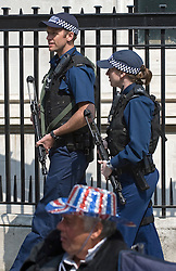 © licensed to London News Pictures.  28/05/2011. London, UK. Armed police outside Westminster Abbey.  The day before the Royal Wedding fans gather to celebrate the monumental occasion today (28/04/2011). Photo  credit should read LNP.