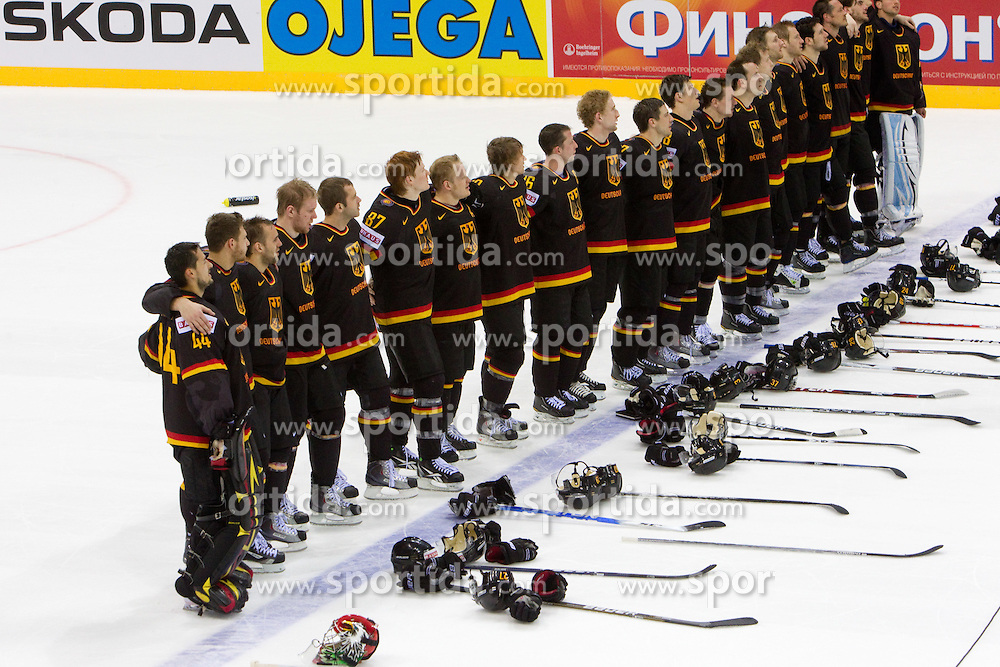 Team of Germany during ice-hockey match between Slovenia and Germany of Group A of IIHF 2011 World Championship Slovakia, on May 3, 2011 in Orange Arena, Bratislava, Slovakia. Germany defeated Slovenia 3-2 after overtime and penalty shots. (Photo By Vid Ponikvar / Sportida.com)