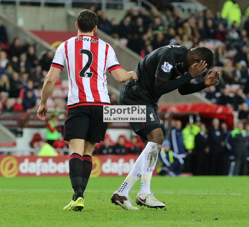 Christian Benteke can't believe that he misses a one on one near the end of the Sunderland FC v Liverpool FC English Premier League 30th March 2015...©Edward Linton | SportPix.org.uk