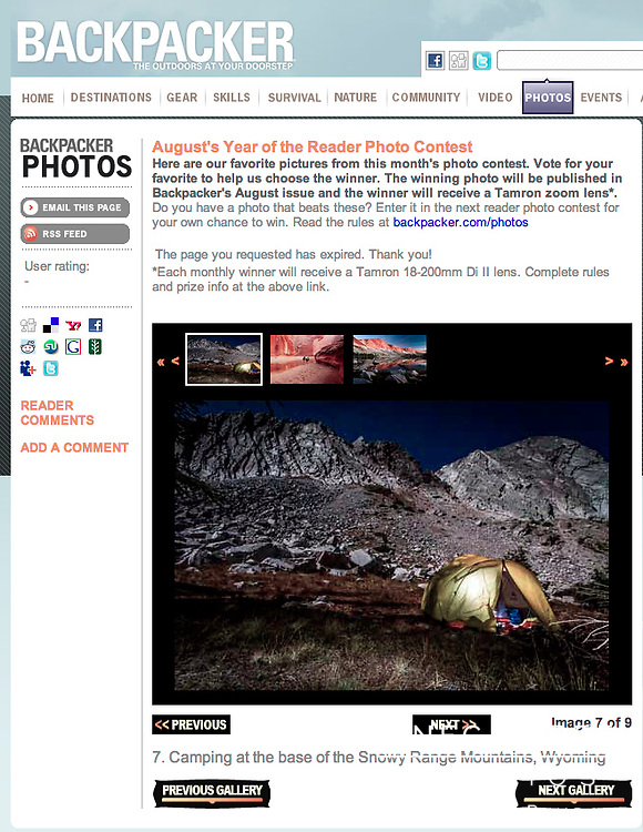 """Camp at the base of the Snowy Range Mountains on a full moon, Medicine Bow National Forest, Wyoming 120928"" as 2013 Finalist in Backpacker Magazine's August's Year of the Reader Photo Contest"
