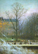 Parie Gardens - 1920'  by Charles Lucien Leandre (1862-1934) French painter and caricaturiest. Winter scene looking across gardens through bare tree to buildigs with lighted windows. Bonfire smoke in foreground.
