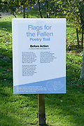 Flags For The Fallen Signage at the National Memorial Arboretum, Croxall Road, Alrewas, Burton-On-Trent,  Staffordshire, on 29 October 2018. Picture by Mick Haynes.