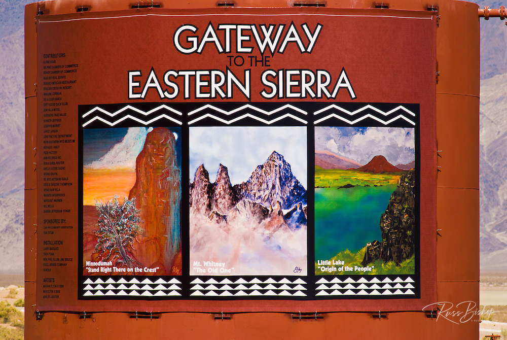 """Gateway to the Eastern Sierra"" mural on Highway 395, Lone Pine, California USA"