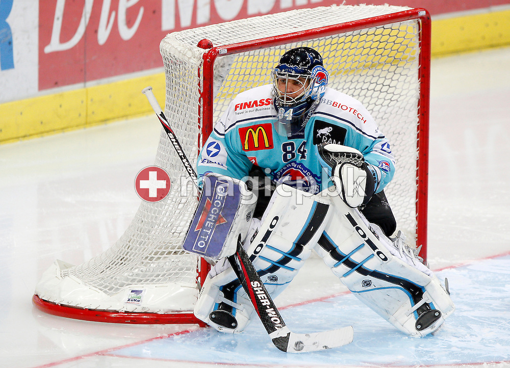 Rapperswil-Jona Lakers goaltender Daniel Manzato is pictured during a National League A ice hockey game between ZSC Lions and Rapperswil-Jona Lakers held at Hallenstadion in Zurich, Switzerland, Sunday, Dec. 12, 2010. (Photo by Patrick B. Kraemer / MAGICPBK)