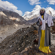 Muni, or Silent, Baba poses near his tiny home at Tapovan above the Gangotri Glacier.