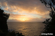 sunset over Pacific Ocean, as seen from just above Ika Lahi Fishing Lodge, Hunga Island, Vava'u, Kingdom of Tonga, South Pacific