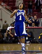 Rachel Butler (1) of Hampton reacts after hitting a 3 in overtime against North Carolina A&T during the 2008 MEAC Basketball Tournament at the RBC Center in Raleigh, North Carolina.  A&T won in OT 74-71.  March 14, 2008  (Photo by Mark W. Sutton)