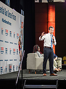 10 AUGUST 2019 - DES MOINES, IOWA: Mayor PETE BUTTIGIEG, of South Bend, Indiana, a Democratic Presidential candidate, answers questions from gun violence survivors at the Presidential Gun Sense Forum. Several thousand people from as far away as Milwaukee, WI, and Chicago, came to Des Moines Saturday for the Presidential Gun Sense Forum. Most of the Democratic candidates for president attended the event, which was organized by Moms Demand Action, Every Town for Gun Safety, and Students Demand Action.          PHOTO BY JACK KURTZ
