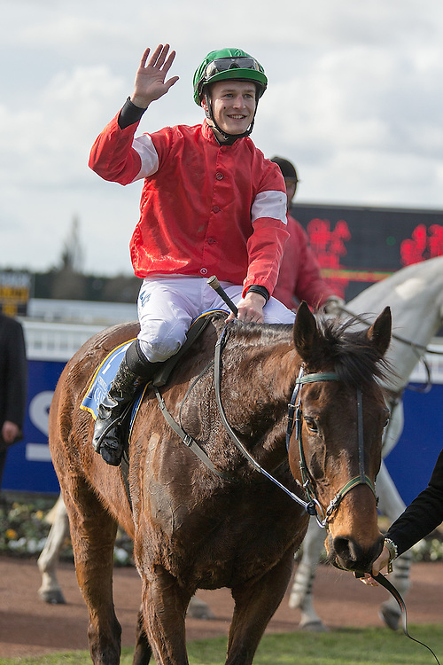 Jockey Michael Mitchell riding High Forty returns to scale after winning race 7 141st NZ Grand National Steeplechase at Riccarton Park, Christchuch, New Zealand, Saturday, August 08, 2015. Credit:SNPA / Martin Hunter
