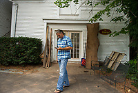 Randy Bartlett founder of Riverbank House outside of The Barn workshop on Tuesday afternoon.  (Karen Bobotas/for the Laconia Daily Sun)