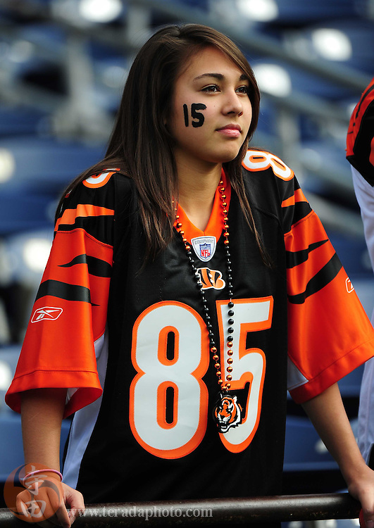 December 20, 2009; San Diego, CA, USA; Cincinnati Bengals fan Ariel Hezlep, from Cincinnati, wears wide receiver Chris Henry's (not pictured) jersey number painted on her face before the game against the San Diego Chargers at Qualcomm Stadium. Mandatory Credit: Kyle Terada-Terada Photo