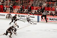 2019-11-08 | Stockholm, Sweden : Tampas  Nikita Kucherov (86) and Steven Stamkos (91) and Buffalos Jack Eichel (9) and  Henri Jokiharju during the NHL Global series at Globe Arena (Photo by : Daniel Carlstedt | Swe Press Photo